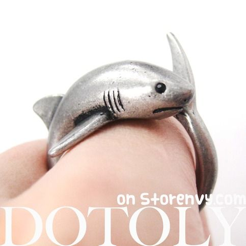 3D Shark Sea Animal Hug Wrap Ring in Silver - Sizes 5 to 10 from DOTOLY