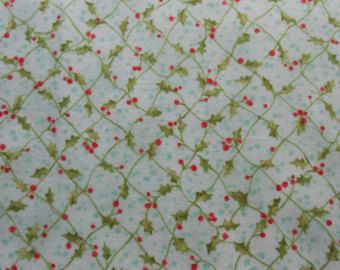 SALE- Christmas holly  Fabric  by the yard