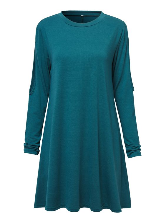 Sexy Off Shoulder Loose Hole Solid Long Sleeve Dress