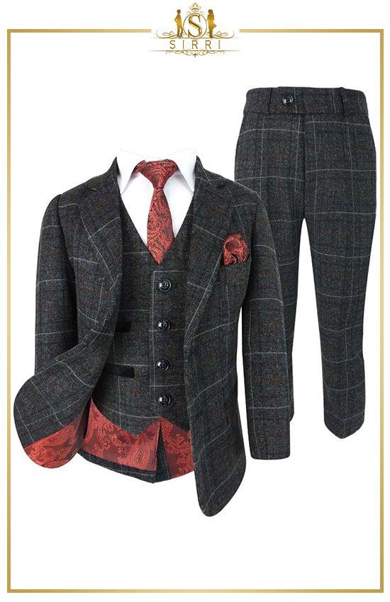 Designer Karo Tweed Kinder Jungen Anzug Kohlengrau In 2020 Kinder Anzug Anzug Blazer Jacke