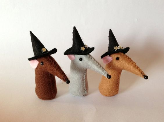 Felt rats with witches' hats set of 3 by slowrisinglifeform, £15.00