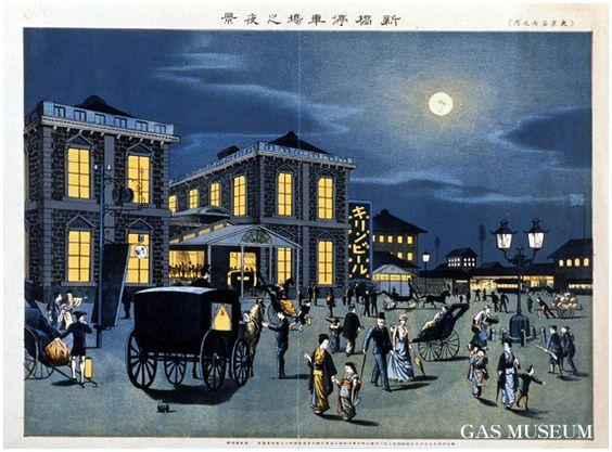 Shinbashi Tokyo ,Kasai Torajiro 葛西虎次郎「東京名所之内 新橋停車場之夜景」