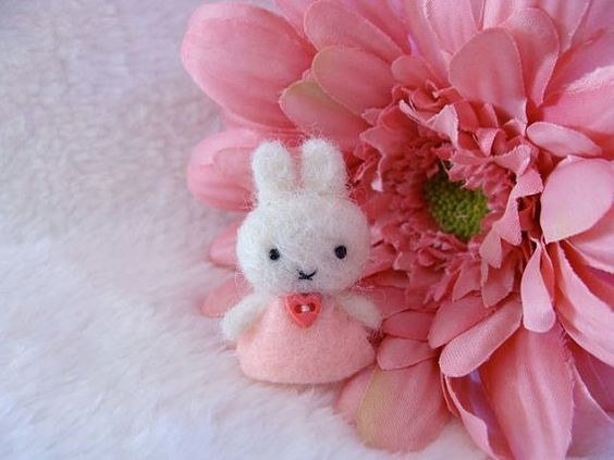 Needle felted miniature Miffy toy so small by LoveableTreasures