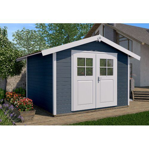 300 Cm X 235 Cm Gerateschuppen Aus Massivholz Weka Farbe Blau Roof Styles Bitumen Roof Wood Treatment