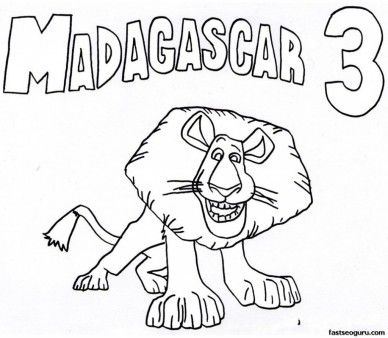 Printable alex madagascar 3 coloring pages printable for Madagascar coloring pages printable