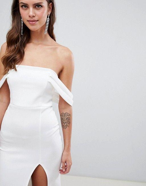 Asos Design Asos Design Bardot Strap Maxi Dress With Thigh Split Maxi Dress Fashion Asos Designs