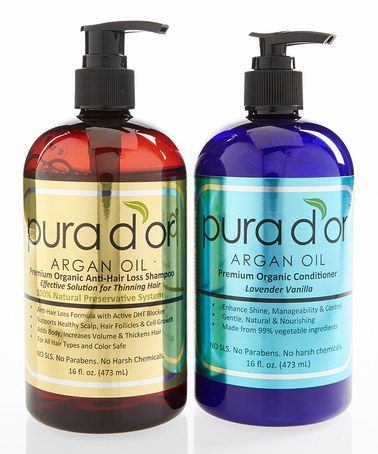 This Organic Anti-Hair Loss Shampoo & Conditioner by Pura D'or Argan Oil is perfect! #zulilyfinds