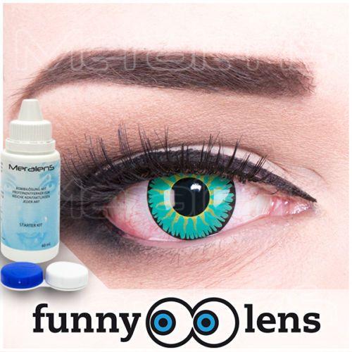 Farbige-Fun-Crazy-Kontaktlinsen-funny-Jade-Warrior-GRATIS-Behalter