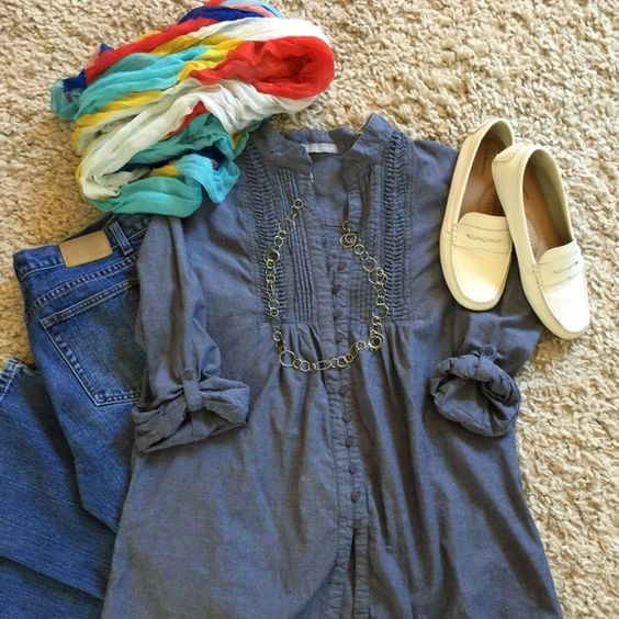 Olivia Moon chambray multi pleated top!!! Olivia Moon chambray multi pleated shirt! 100% cotton! Extra button still on side tag!!!  Olivia Moon Tops Button Down Shirts