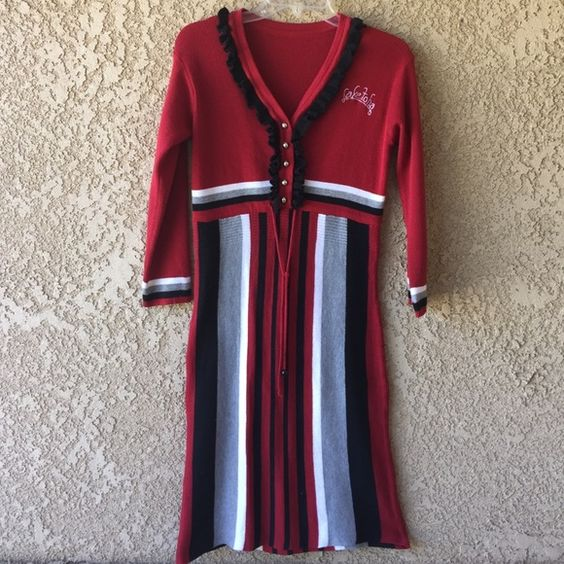 Striped Sweater Dress Worn once, has a small stain on the bottom. Someone bought it from Indonesia for me. Lots of room for stretch. All $3 & $4 items are buy 1 get 1 Free. If they don't sell within a week, they go to donation.  Dresses Mini
