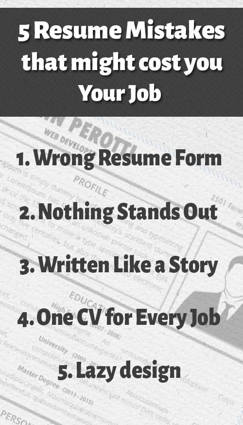 5 Resume Mistakes That Might Cost You Your Job Creative Resume Templates Resume Writing Tips Resume Resume Advice