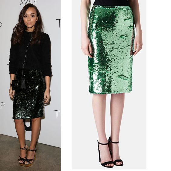We're Already Creating Our Spring Wish Lists After Seeing This Week's Cheap Celeb Finds  Ashley Madekwe's Skirt Topshop Sequin Pencil Skirt, $130  A $130 skirt might seem to be out of reach for 15 percenters but in black, this could be your go to evening piece for decades. I mean, really, how much do you hate ramen noodles?