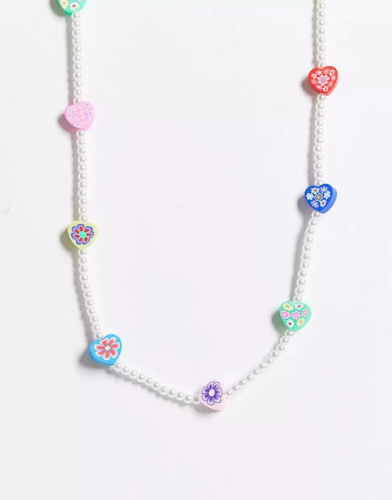 ASOS DESIGN necklace with flower beads and pearls