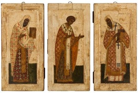 Russian icons of Archbishops (St. Nikita of Novgorod, St. Euthymius of Novgorod, and St. Alexis of Moscow), circa 1700