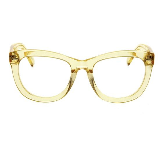 Clear Wayfarer Eyeglasses Frame with Yellow Acetate Finish ...