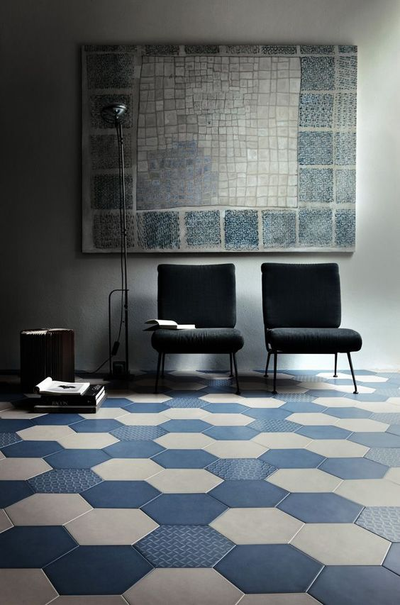 Blue and hex tile and ems on pinterest for Tipos de pisos