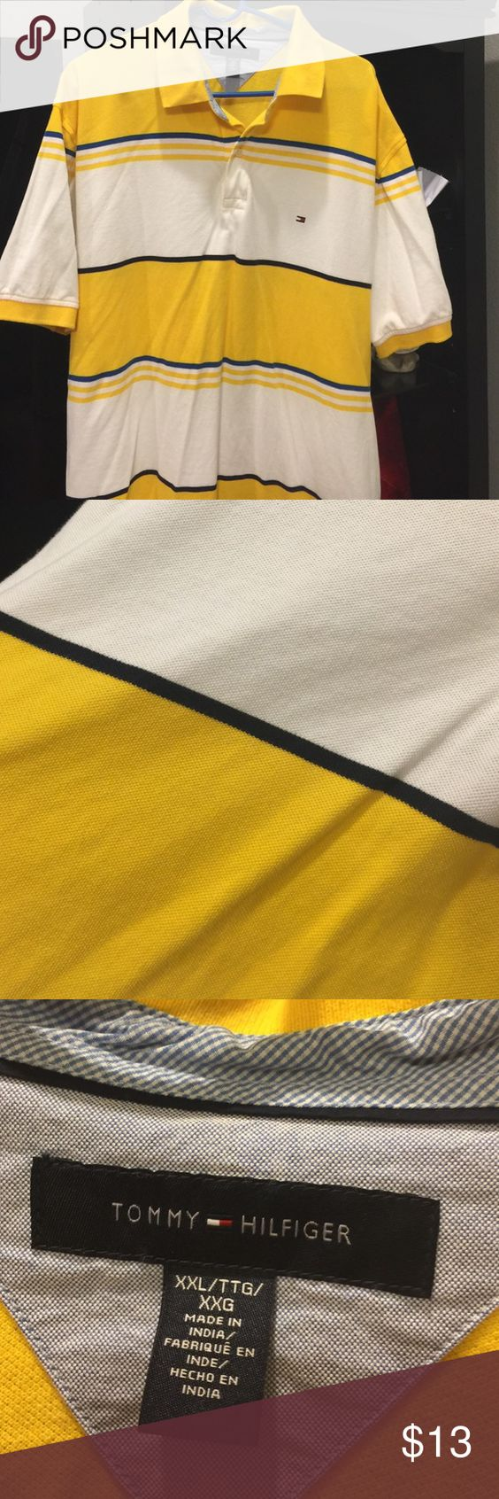 Men's Tommy Hilfiger EUC. Wore maybe twice. 100% cotton. Yellow and white with blue, yellow and black stripes. Offers welcomed 😊 Tommy Hilfiger Tops