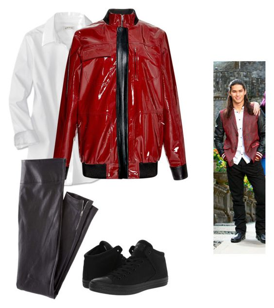"""""""descendants jay"""" by maria-calinaa ❤ liked on Polyvore featuring Anthony Vaccarello, Wrap and Converse"""