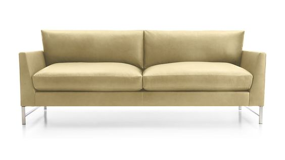 Sofa Slipcovers Genesis Leather Sofa with Brushed Stainless Steel Base Crate and Barrel Leather sofas Sofas and Leather