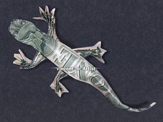 Dollar Bill Origami LIZARD: