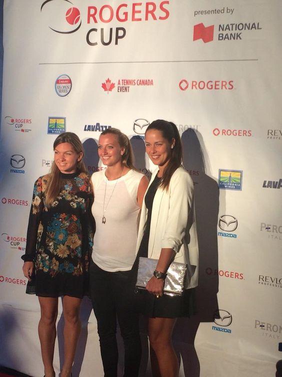 Simona Halep, Petra Kvitova and Ana Ivanovic on the #rogerscup 2015 red carpet!