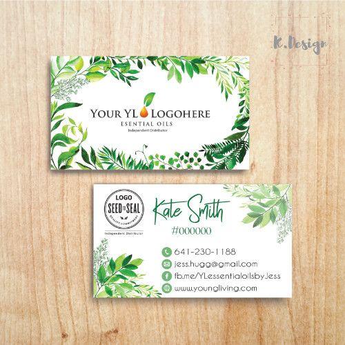 Printable Essential Oils Business Card Youngliving Business Card Yl17 Young Living Business Cards Watercolor Business Cards Essential Oils Business