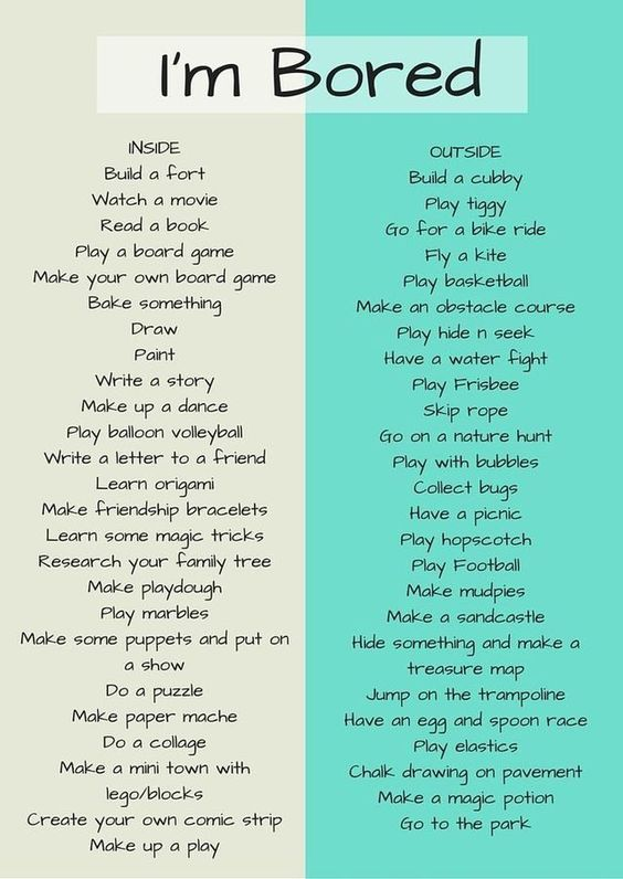 Bored? Try an activity from this boredom list!   -  #nannyactivities #nannyactivitiesCrafts #nannyactivitiesDollarStores #nannyactivitiesMiddleSchool