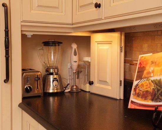 Hideaway for appliances. Keeps them handy but hidden.