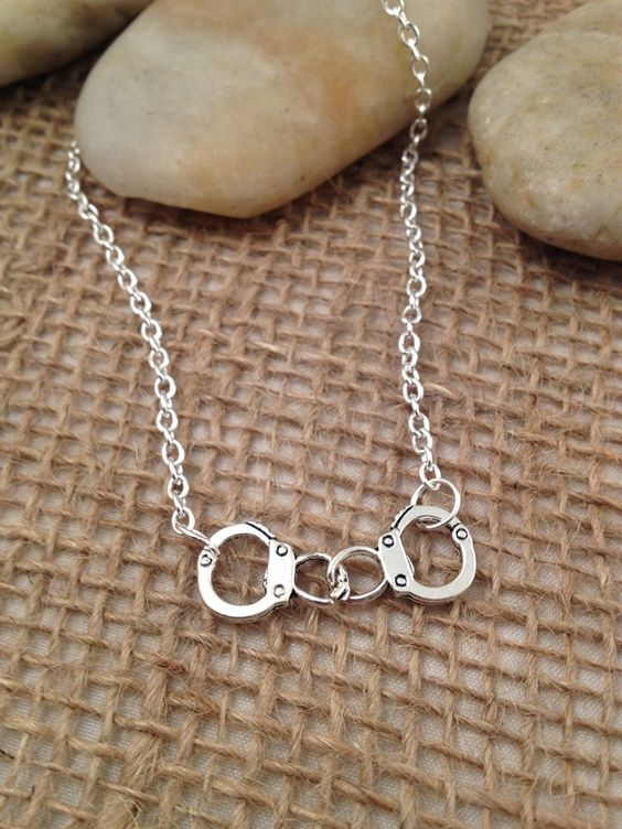 Lock em up! Silver Handcuff Necklace - Partners in Crime or Valentine's Day Gift! | Jane