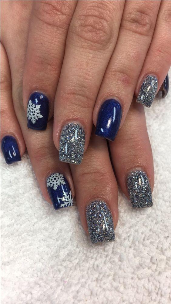 Blue nails with snowflake winter nailsnailartdesigns