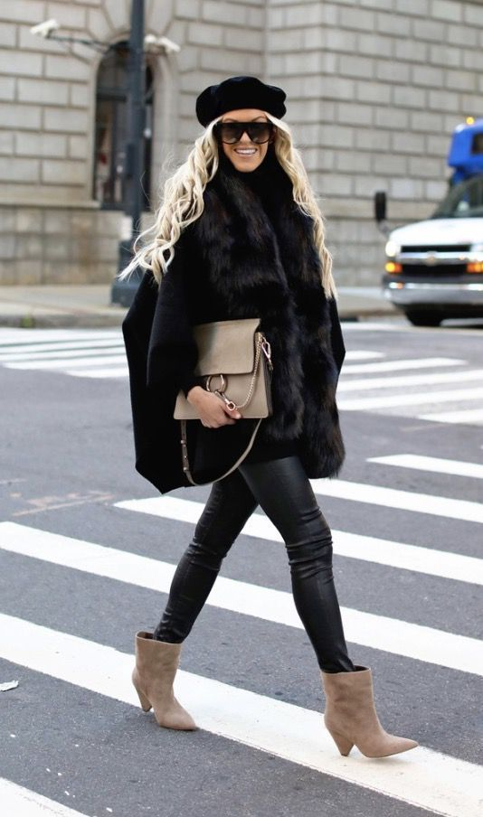 40+ MUST HAVE CASUAL WINTER OUTFITS THAT LOOK EXPENSIVE - the best cold weather casual winter outfits for women that still look good! If you're looking for women's coats, winter style inspiration, casual winter fashion and winter ootd looks, take inspiration from these fashion bloggers to create the best casual outfits for winter! Image  Black faux fur coat with black beret and Chloe Faye bag. #winteroutfits #winterfashion #winteroutfitideas #casualoutfits #casualwintero