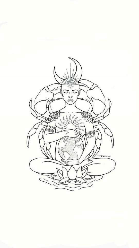 Cancer Ela Cancer Zodiac Tattoo Cancer Tattoos Goddess Tattoo