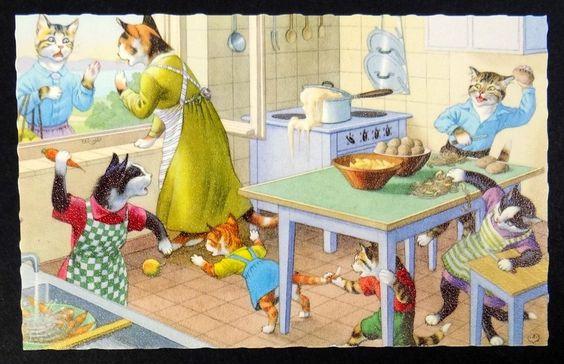 Vestido Fantasia Caos Cozinha Gatos Hartung Mainzer # 4853 Bélgica Cartão Postal in Colecionáveis, Cartões postais, Animais | eBay