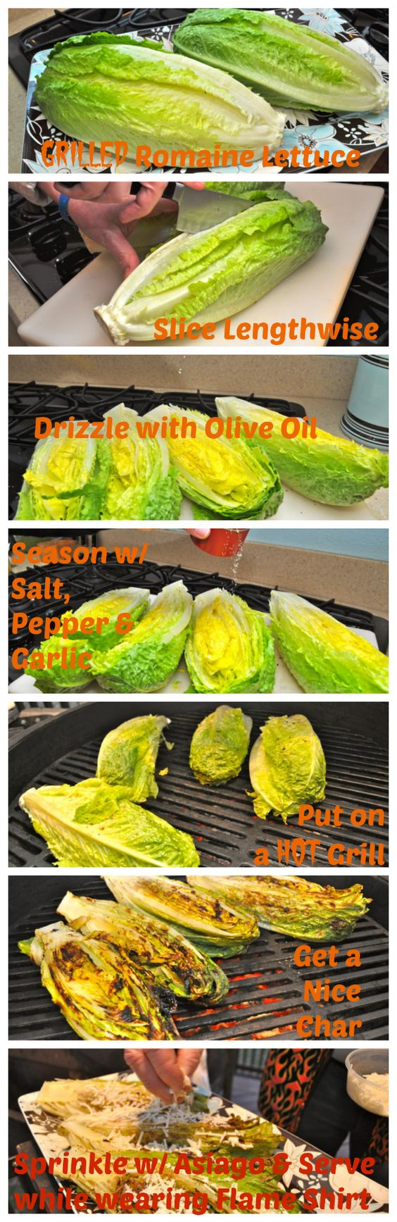 Have you ever grilled salad? Why the heck not? It takes it to a whole new level! Check the collage for step by step, foolproof instructions.