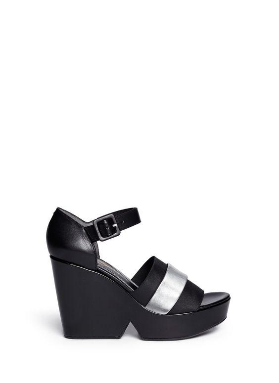 ROBERT CLERGERIE - 'Dobert' metallic leather band wedge sandals | Black Platform High Heels | Womenswear | Lane Crawford