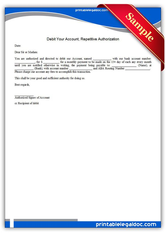 Printable debit your account repetitive authorization Template - authority form template