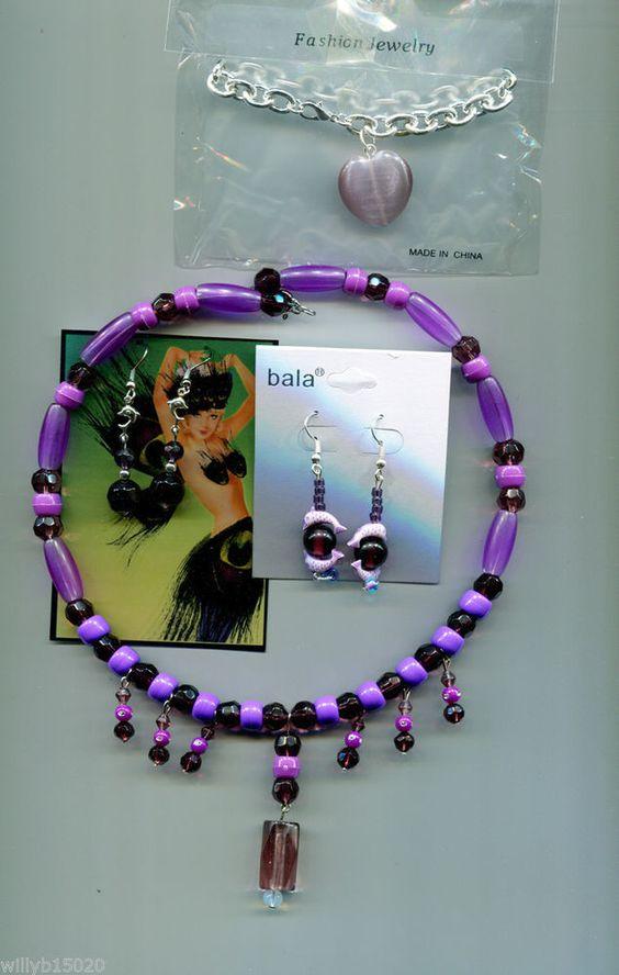 3 purple beaded necklaces earrings bracelet jewelry lot new wholesale