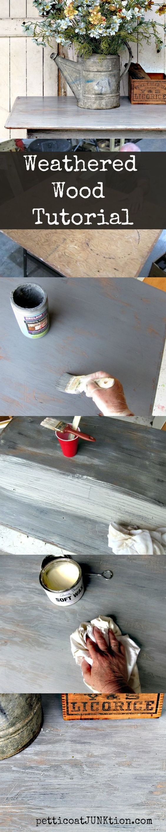 Weathered Wood Tutorial. Simple step by step process for creating a weathered wood finish on unfinished wood. Paint the surface wtih gray paint, dry brush black paint over the gray, then heavily white wash the piece. Photos showing each step in the process. From Petticoat Junktion