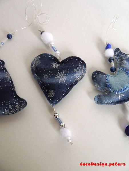 Blaues Herz - Baumschmuck von decodesign.peters auf DaWanda.com