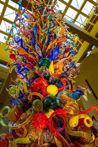Fiesta Tower blown glass sculpture (2003) by Dale Chihuly Central Library atrium. San Antonio, TX.