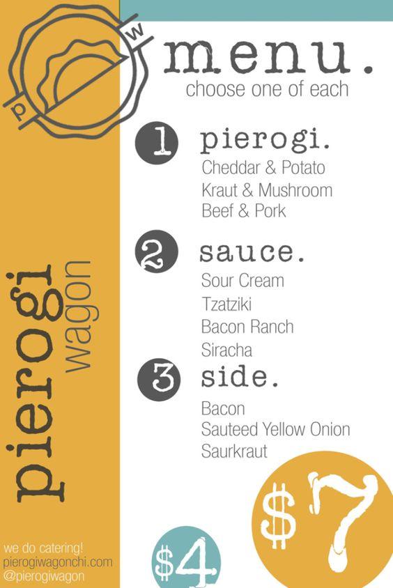 Pierogi wagon food truck menu design whisk social for Food truck menu design