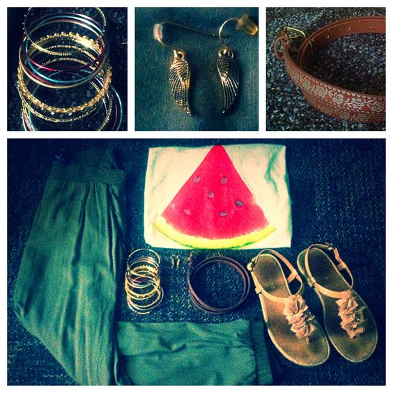 Watermelon Tee, Hawaiian sandals, rose belt, wing earrings, gold red green bangles, Olive pants
