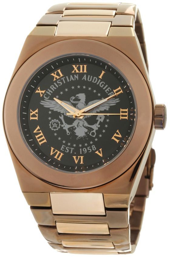 Christian Audigier Mens TWC 111 The World Of Brown And Black Eagle Watch Watches