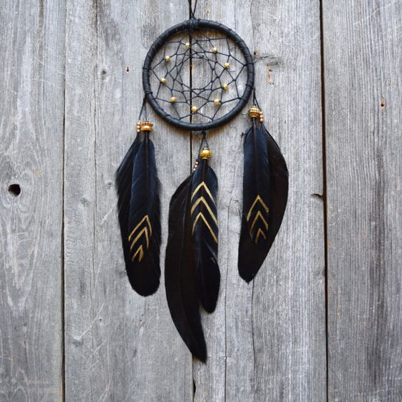 Dream catcher small dream catcher boho black and for Dream catcher spray painting