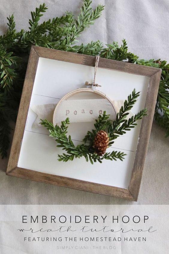 Diy Embroidery Hoop Wreath Basteln Weihnachten Weihnachtsdekoration Diy Weihnachten