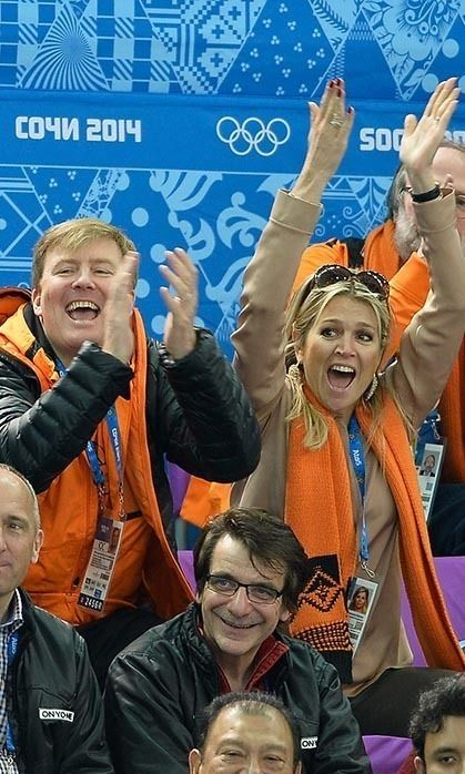 King Willem-Alexander and Queen Máxima of the Netherlands were spotted cheering on their country at the Sochi Winter Olympics held in Russia.