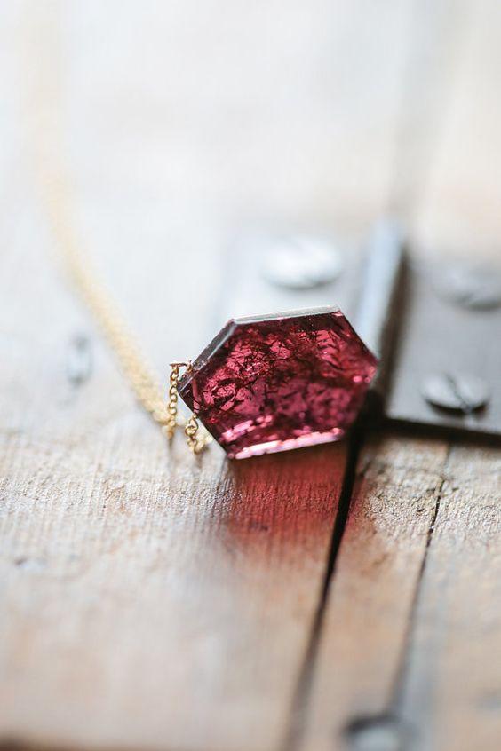 January Birthstone : Garnet Geometric Pendant Necklace, Rustic Garnet.