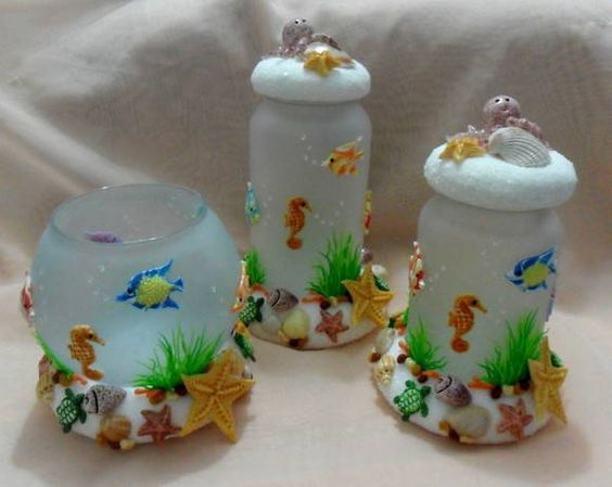 Frascos Golosineros, Tarros, Botellas Decoradas, Cristal Decorados, Del Mar, Cosidas Lindas, Apasta Francesa, Burbujas, Utilitarios