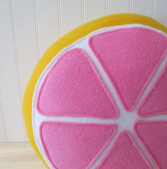 pink grapefruit plush pillow