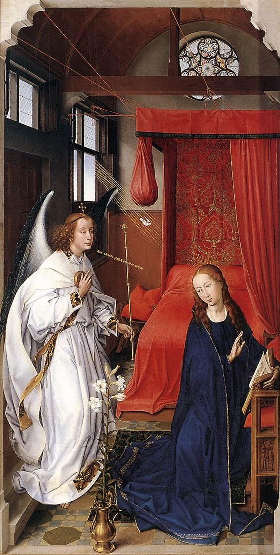 Rogier van der Weyden (1399/1400–1464) — The Annunciation, St. Columba Altarpiece (left panel),  1455 : The Alte Pinakothek, Munich.  Germany   (700×1385):